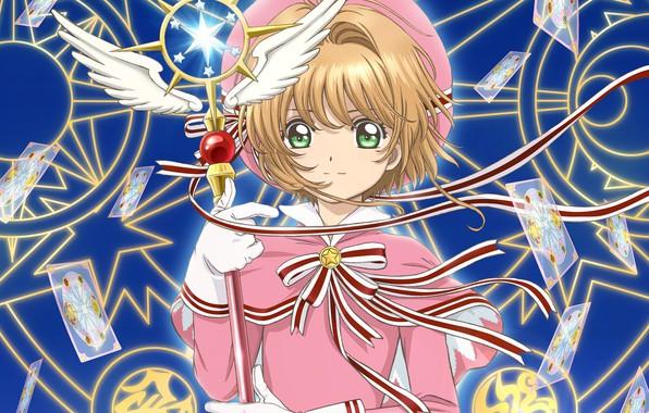 Картинка взгляд, крылья, ангел, аниме, девочка, Card Captor Sakura, пентаграммы, Сакура - собирательница карт