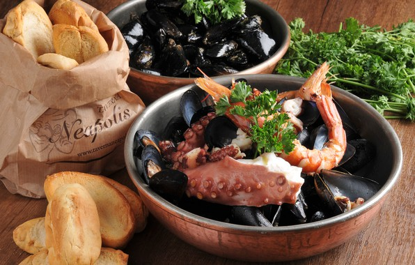 Картинка хлеб, морепродукты, мидии, осминог