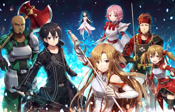 Картинка девушки, парни, персонажи, Sword Ard Online