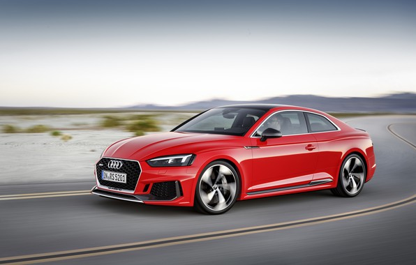 Картинка Audi, German, Red, Speed, RS5, 2018, Road, Drive, RS, A5