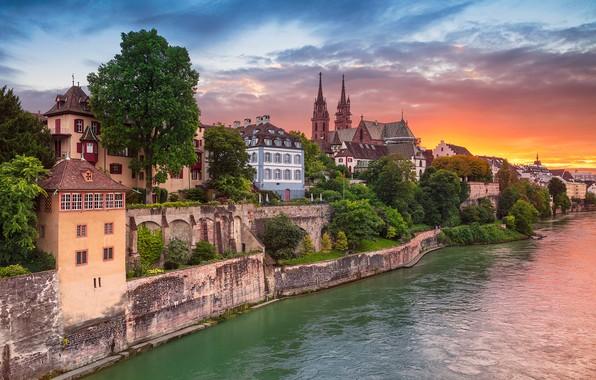 Картинка закат, река, здания, дома, Швейцария, Switzerland, река Рейн, Basel, Базель, Rhine River, Aeschenpl