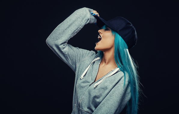 Картинка model, Hat, blue hair