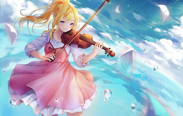 Картинка взгляд, девушка, скрипка, аниме, Shigatsu wa Kimi no Uso