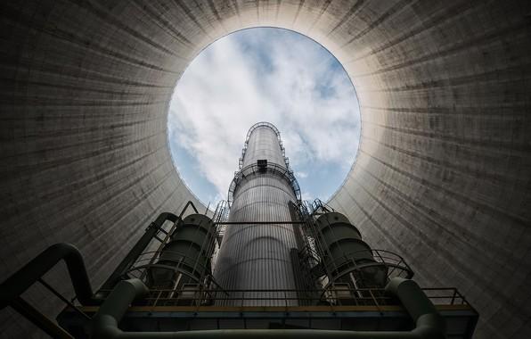 Картинка небо, завод, труба