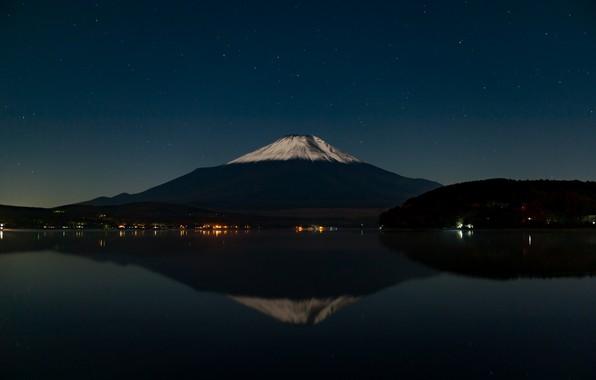 Фото обои небо, звезды, отражение, гора, вулкан