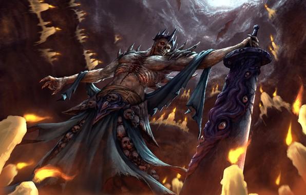 Картинка оружие, меч, свечи, демон, арт, черепа, пещера, летучие мыши, фэнтазм