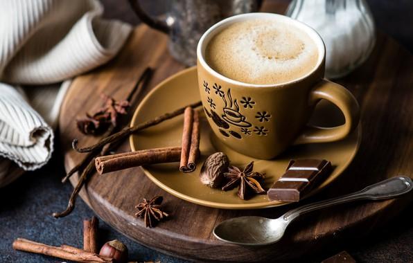 Картинка кофе, шоколад, корица, гвоздика