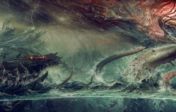 Картинка fantasy, ocean, water, tree, destruction, Kraken, mythological monster