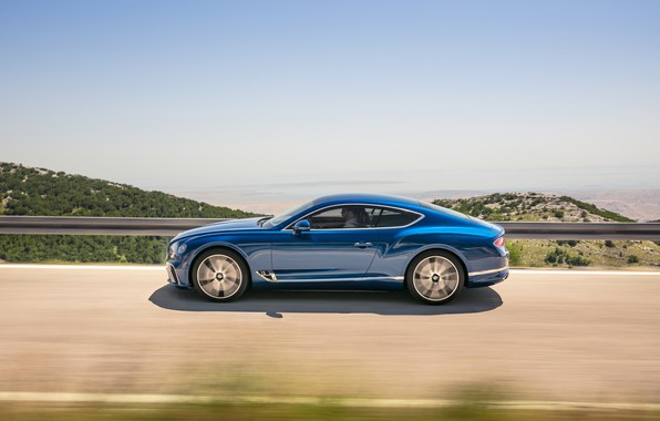 Картинка Bentley, Continental GT, Blue, Coupe, 2017