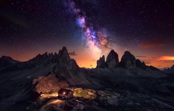 Картинка небо, свет, горы, ночь, дом, Альпы, млечный путь