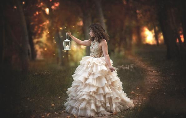 Картинка лес, девушка, настроение, огоньки, платье, фонарик, тропинка