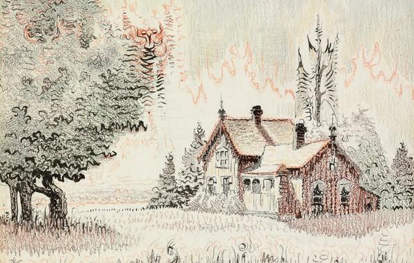 Картинка домик, 1955, Charles Ephraim Burchfield, Morning Song, Cicada's