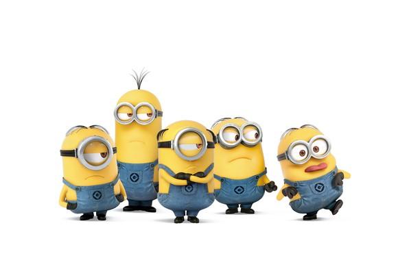 Фото обои перчатки, пятеро, очки, желтые, ботинки, белый фон, мультфильм, комбинезоны, Миньоны, Minions, персонажи