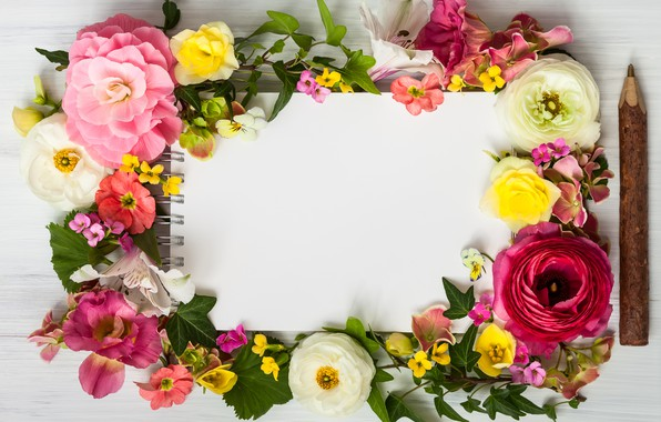 Картинка цветы, wood, pink, flowers, beautiful, композиция, frame, floral