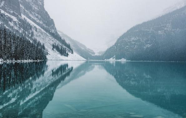 Картинка зима, лес, снег, отражения, горы, природа, озеро