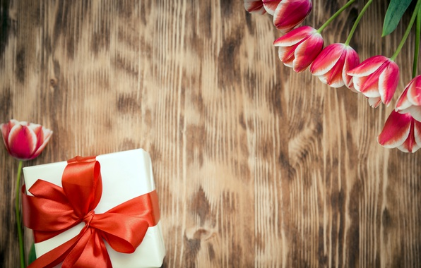 Картинка цветы, тюльпаны, red, love, 8 марта, wood, romantic, tulips, gift, красные тюльпаны