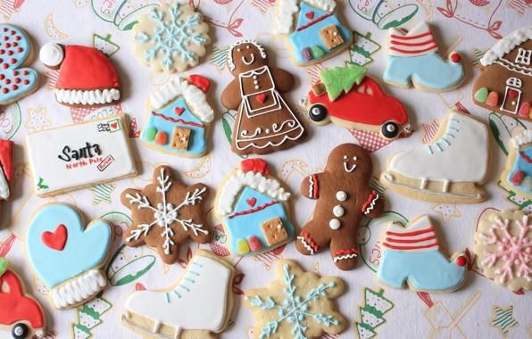 Картинка праздник, Новый Год, печенье, сладости, фигурки, выпечка, угощение, имбирные пряники, разноцветная глазурь