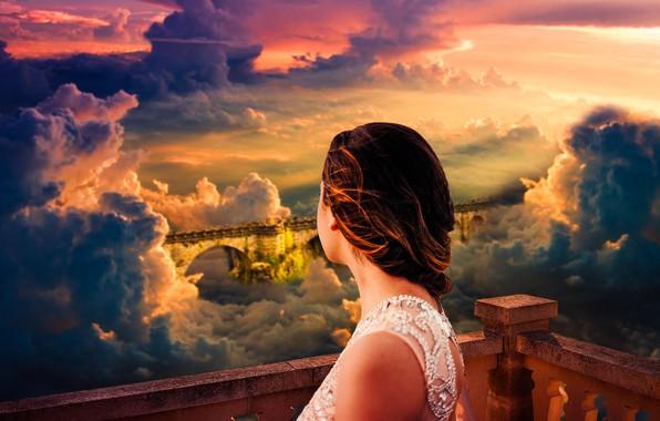 Картинка dream, light, girl, summer, fantasy, fashion, sky, nature, young, clouds, model, sun, pretty, mood, look, …