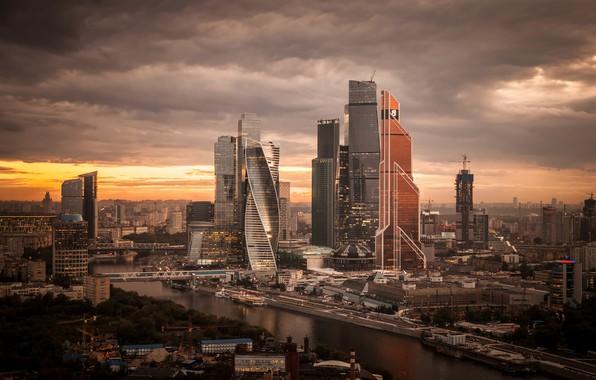Картинка город, вечер, Россия