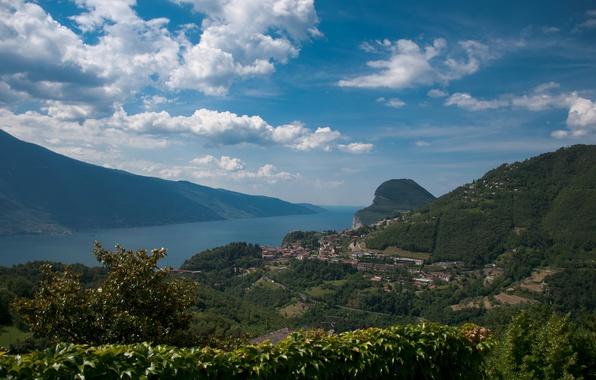 Картинка Город, Панорама, Пейзаж, Panorama, Гардское озеро, Town, Lago di Garda, Озеро Гарда