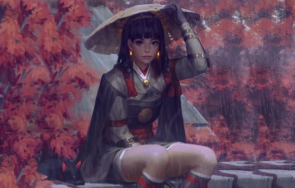 Картинка дождь, шляпа, доспехи, Япония, art, Guweiz, женщина-воин, осенние деревья