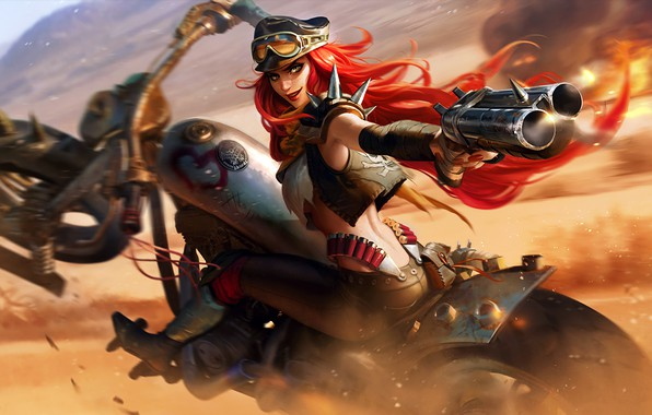 Картинка girl, gun, fantasy, game, weapon, hat, motorcycle, redhead, League of Legends, digital art, artwork, fantasy …