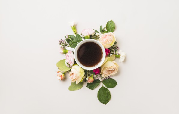 Картинка цветы, кофе, чашка, flower, cup, coffee, decoration, composition
