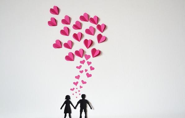 Картинка бумага, сердечки, love, heart, оригами, romantic, paper