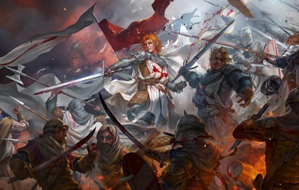 Картинка кровь, битва, мечи, воины, art, crusaders, saracens