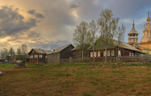 Картинка лето, река, деревня, церковь, Архангельская область, Кимжа