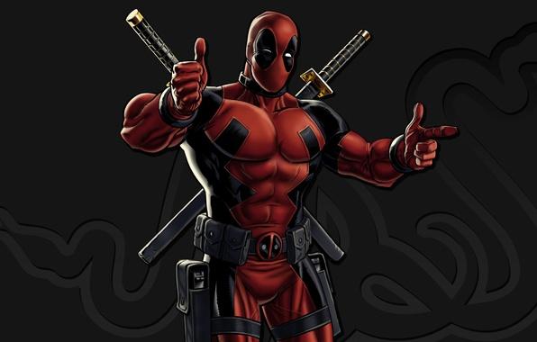 Картинка red, sword, gun, pistol, logo, weapon, katana, man, Deadpool, Marvel, ken, blade, Marvel Comics, mask, …