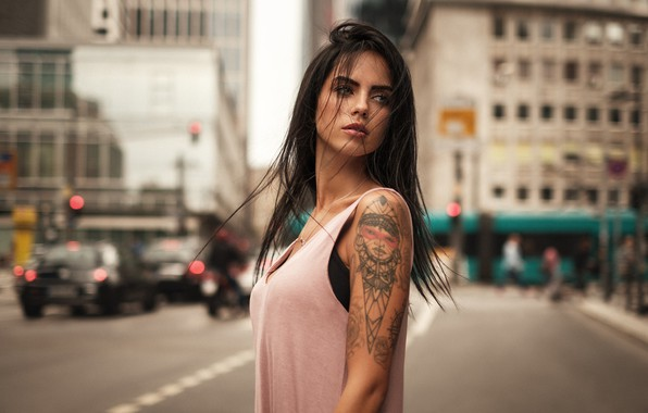 Картинка city, girl, model, tatoo, hair, look, Martin Kuhn, Marlen Valderrama Alvarez