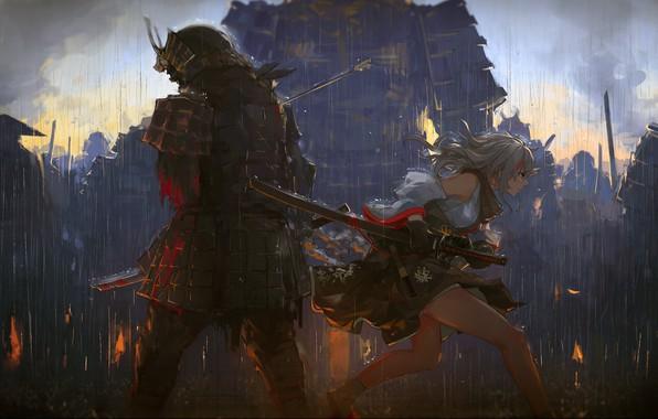 Картинка girl, blood, fantasy, rain, armor, katana, weapons, digital art, artwork, Samurai, warrior, swords, fantasy art, …