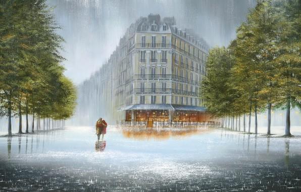 Картинка деревья, город, дом, кафе, лужи, двое, ливень, бульвар, влюбленная пара