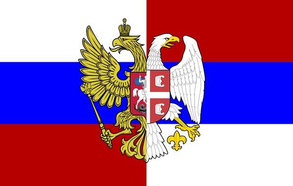 Картинка Флаг, Триколор, Герб, Россия, Сербия, Братство, Орлы, Гербы