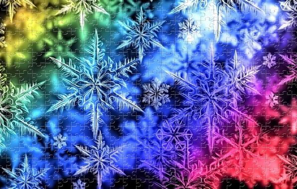 Картинка свет, снежинки, блики, темный фон, рендеринг, вектор, Новый Год, радужная картинка, праздничный пазл, зимняя картинка