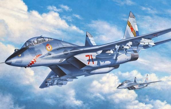 Картинка четвёртого поколения, ОКБ МиГ, двухместный учебно-боевой истребитель, МиГ-29УБ, советский многоцелевой истребитель