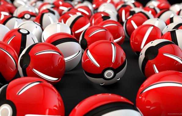 Картинка белый, красный, шар, light, red, white, сфера, светится, ball, покемон, pokemon, pokeball, покебол