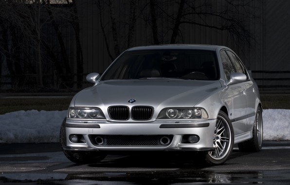Картинка BMW, Carbon, Snow, E39, Silver, Asphalt