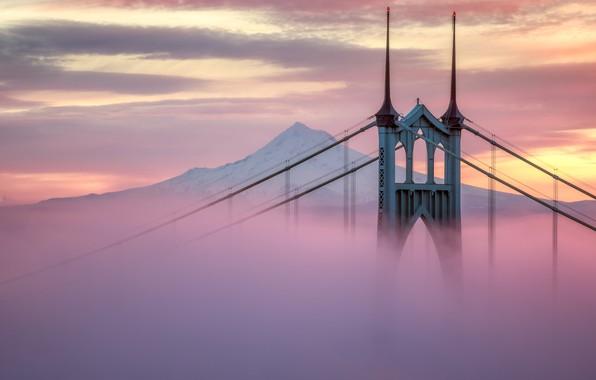 Картинка city, USA, twilight, bridge, sunset, Portland, mountain, snow, evening, architecture, mist, United States of America, …
