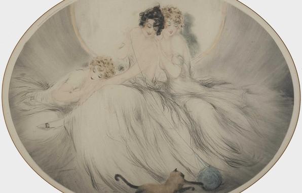 Картинка три девушки, сиамский кот, 1924, арт-деко, Луи Икар, офорт и аквати, Клубок пряжи