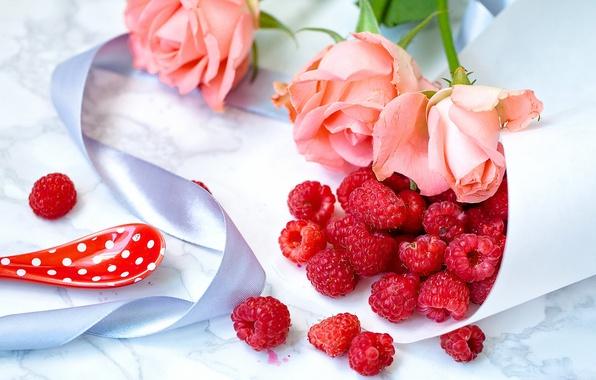 Картинка цветы, стиль, ягоды, малина, розы, лента, натюрморт