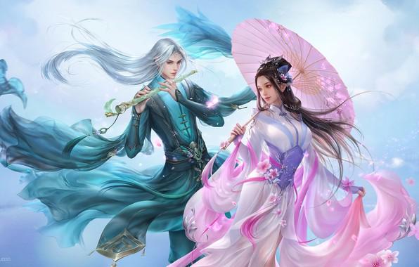Картинка цветы, игра, весна, сакура, фэнтези, арт, пара, бард, дизайн костюма, 3Q STUDIO, 汉宫秋&千秋梦