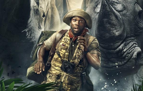Картинка погоня, шляпа, фэнтези, бинокль, приключения, рюкзак, постер, убегает, жилетка, Kevin Hart, носороги, Кевин Харт, Джуманджи: …