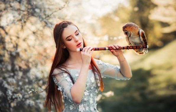 Картинка девушка, настроение, сова, птица, боке, by Ольга Бойко, Александра Гирская