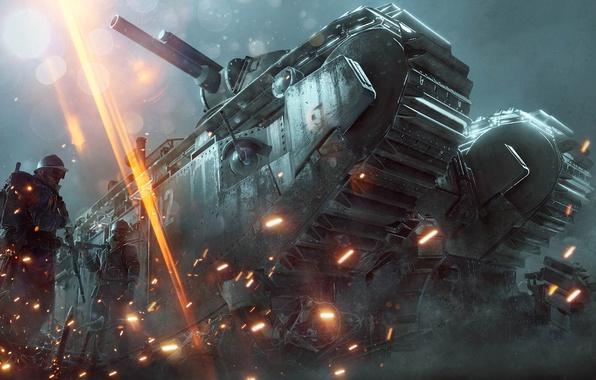 Картинка Огни, Дым, Огонь, Танк, Военный, Electronic Arts, DLC, DICE, Экипировка, Оружия, Frostbite, Battlefield 1, Батлфилд …