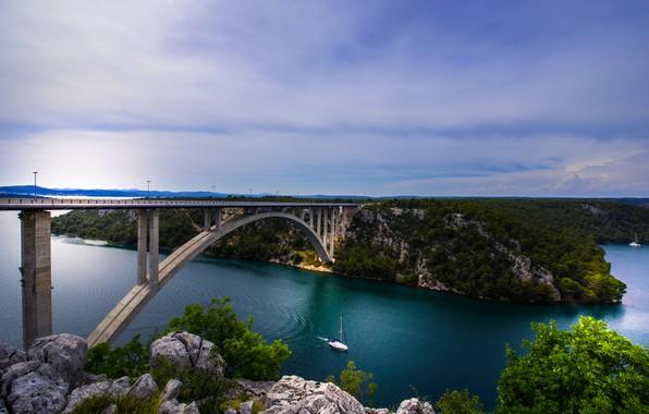 Картинка мост, река, яхта, Хорватия, Croatia, река Крка, Krka River