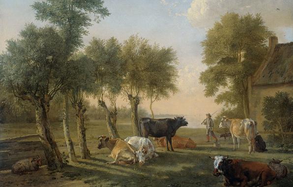 Картинка животные, масло, картина, холст, Паулюс Поттер, Коровы на Пастбище около Фермы