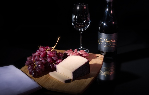 Картинка вино, сыр, виноград