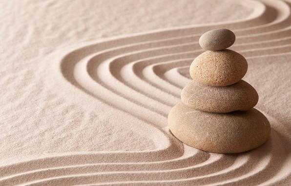 Картинка энергия, камень, Япония, сад, Japan, stone, Дзен, energy, garden, философия, Zen, sand monk